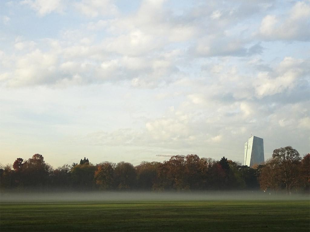 Ostpark mit Nebelbank und EZB in Frankfurt