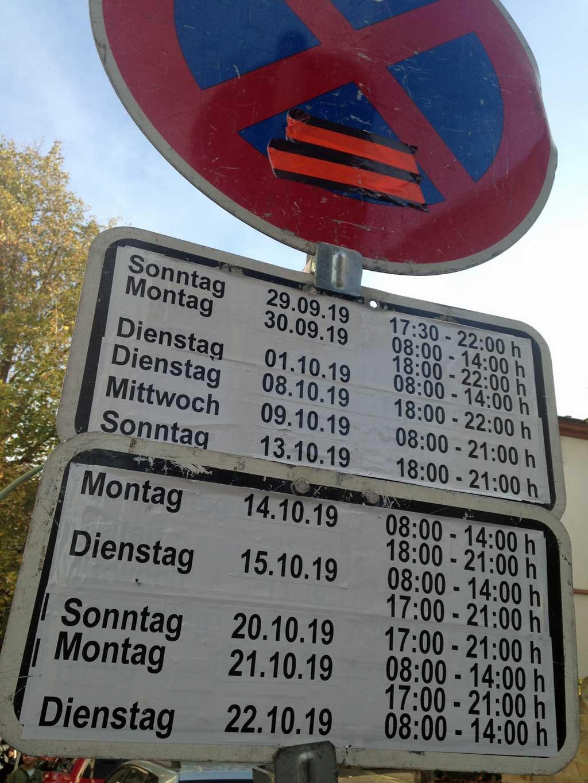 Parkverbotszeiten