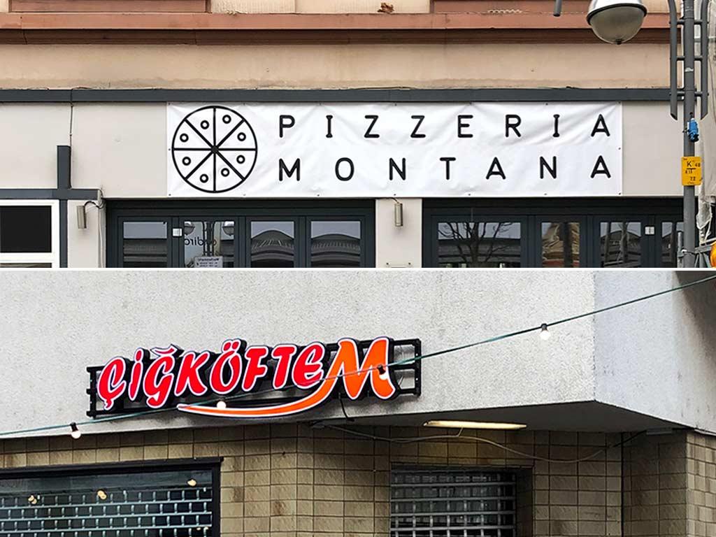 Pizzeria Montana und Cigköftem in der Berger Straße