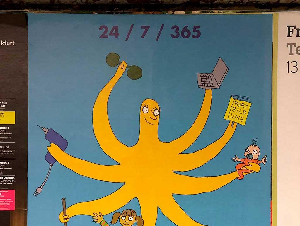 Plakat zum Thema Alleinerziehende in Frankfurt mit Bild von Leonore Poth