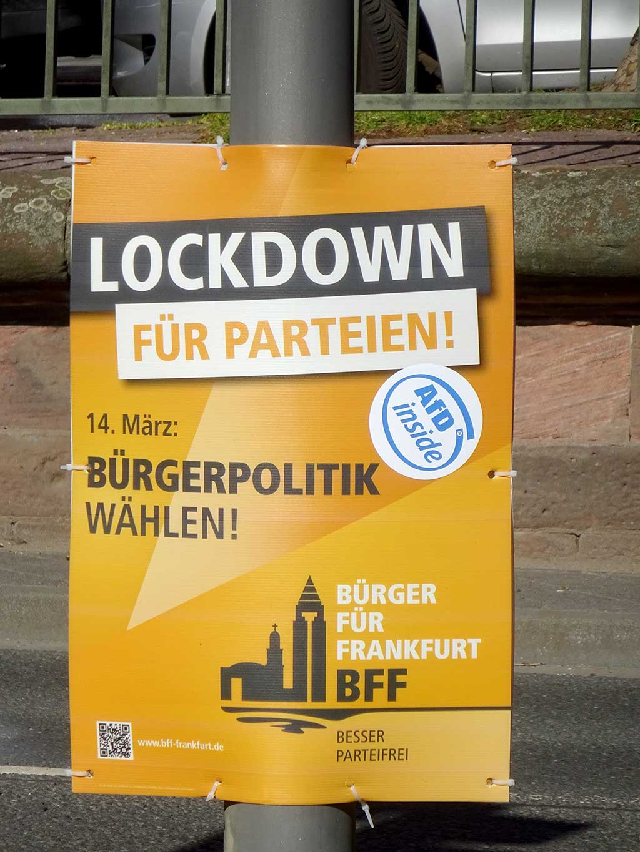 Plakate zur Kommunalwahl in Frankfurt am Main 2021