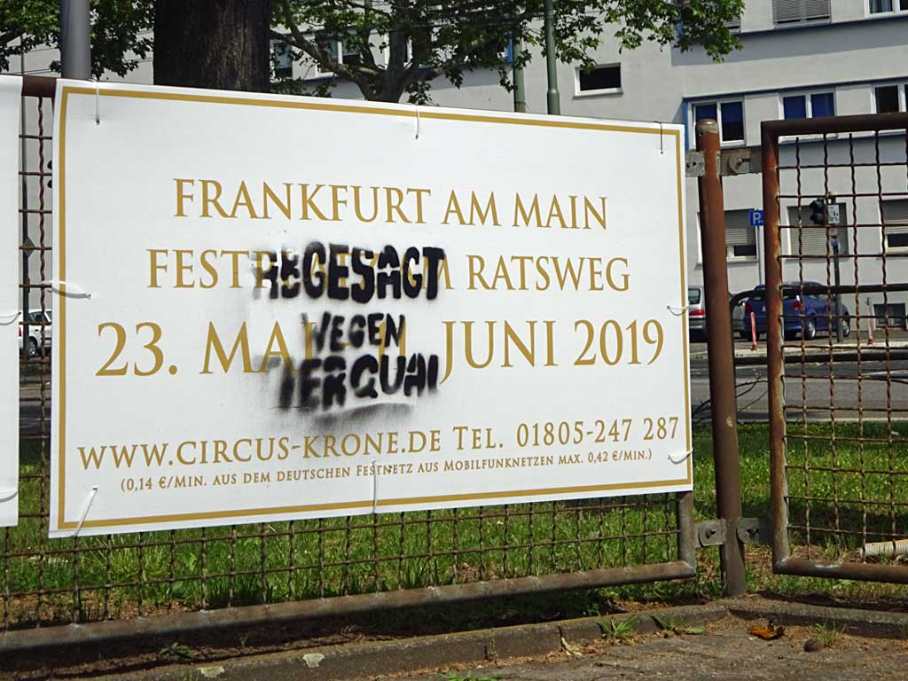 Protest gegen Circus in Frankfurt