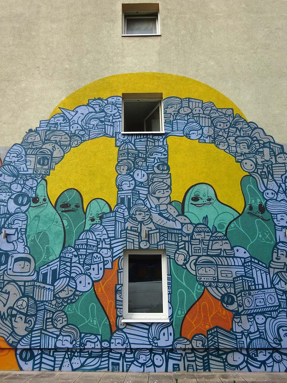PYC und Cityghosts Mural in Frankfurt Sachsenhausen