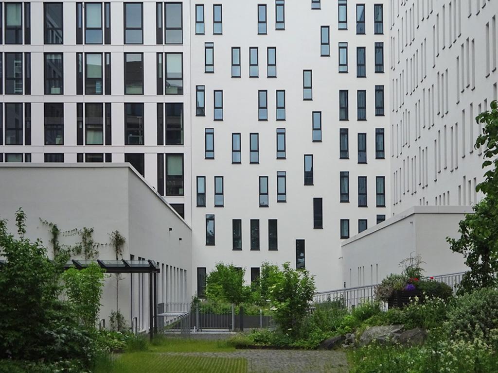 Rückseite des Moxy Hotels in Frankfurt