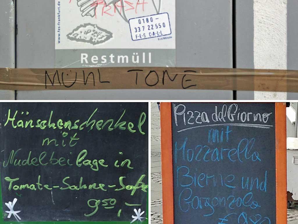 Schreibfehler auf Preisschildern, Tafeln und im Graffiti