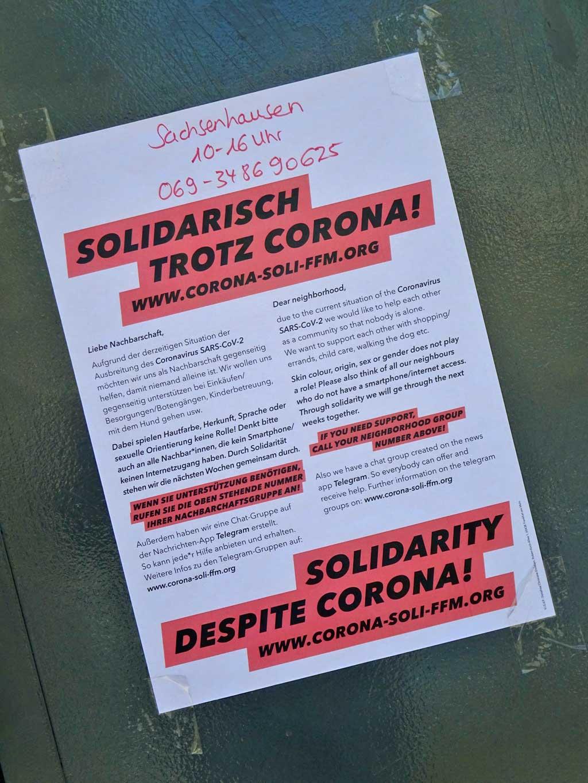 Corona in Frankfurt - Solidarisch trotz Corona
