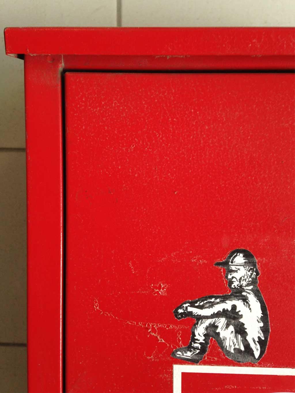 Sticker Art - S/W-Zeichnung eines Mannes mit Cap