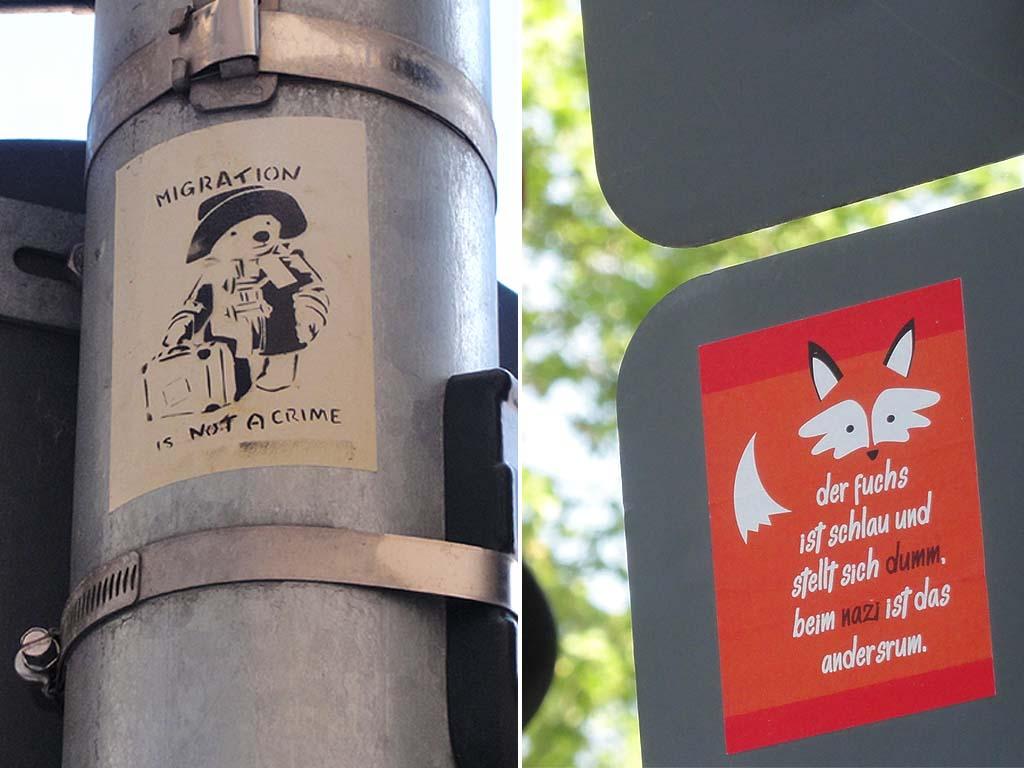 Sticker gegen Rechts - Prämierte Motive vergangener Jahre