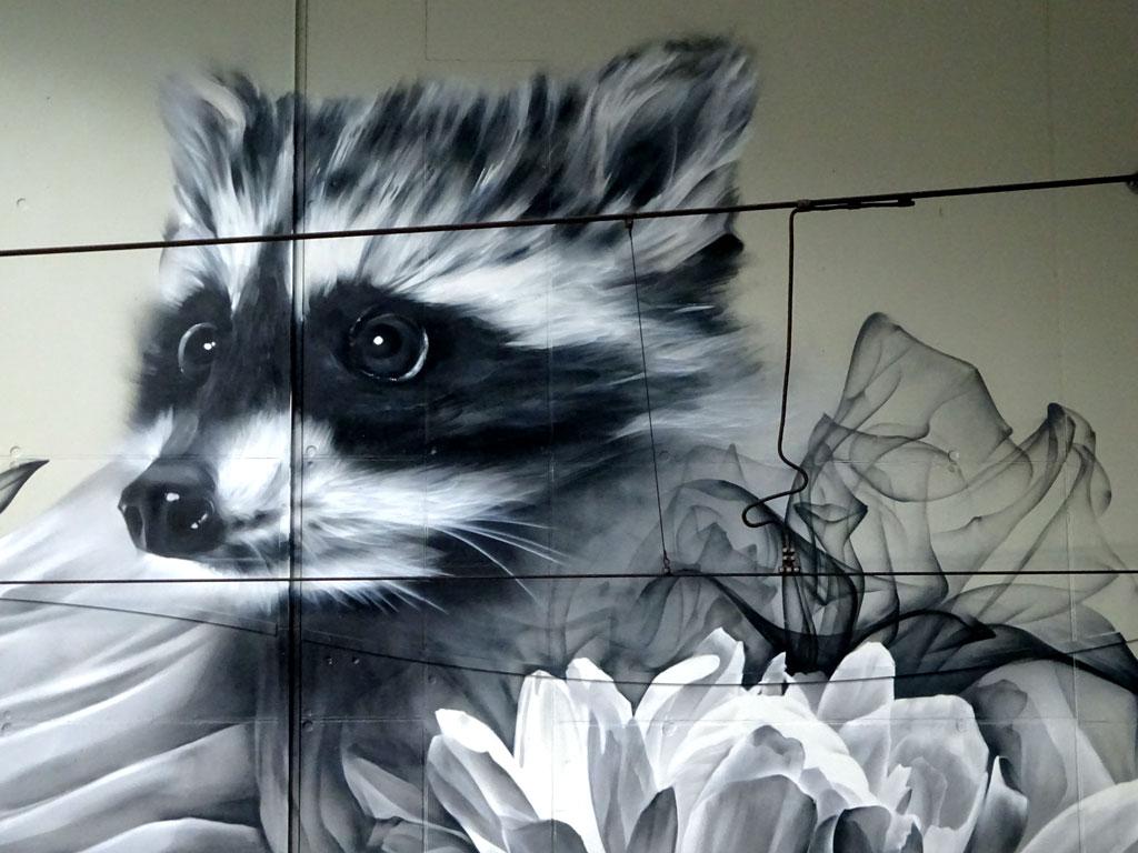 Streetart an der haltestelle Festhalle / Messe in Frankfurt