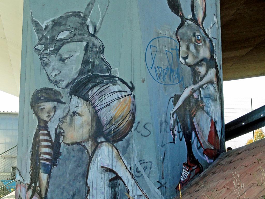 Streetart in Frankfurt-Höchst von Herakut