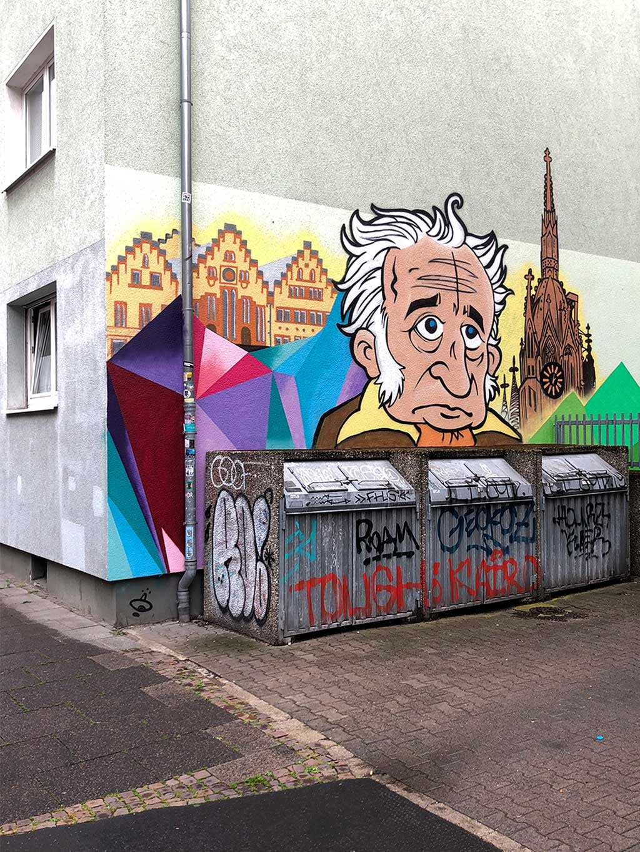 Streetart mit Goethe in Frankfurt am Main