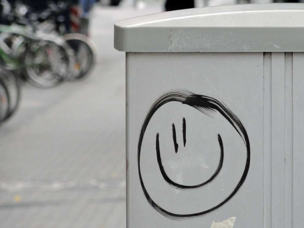 Smiley auf Stromkasten in Frankfurt