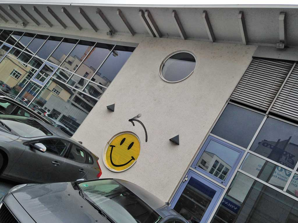 Wegweiser-Smiley in Frankfurt