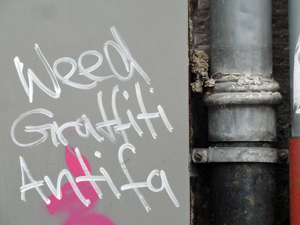 Weed Graffiti Antifa