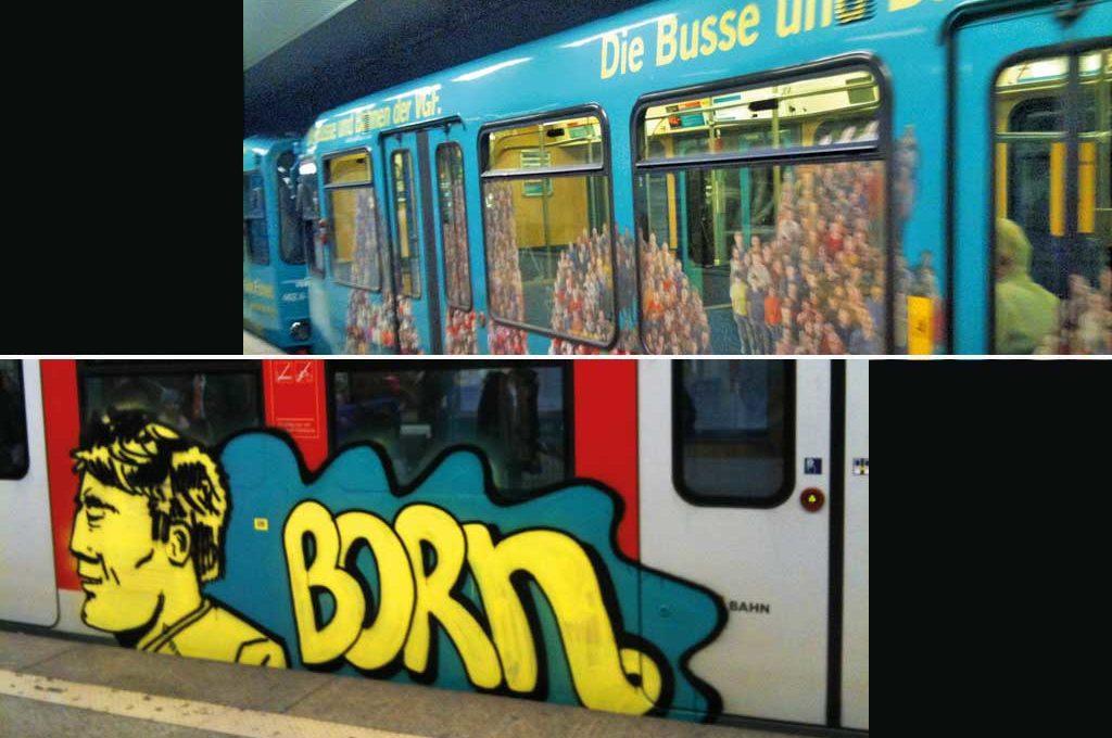 Werbung und Graffiti auf Bahnen
