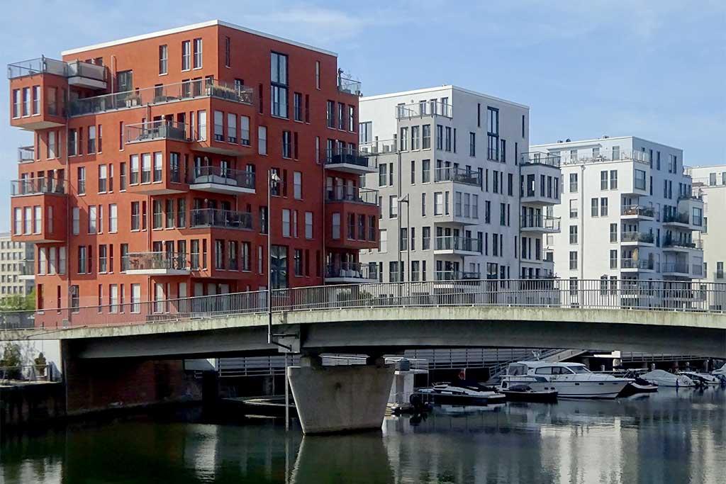 Architektur am Westhafen in Frankfurt am Main