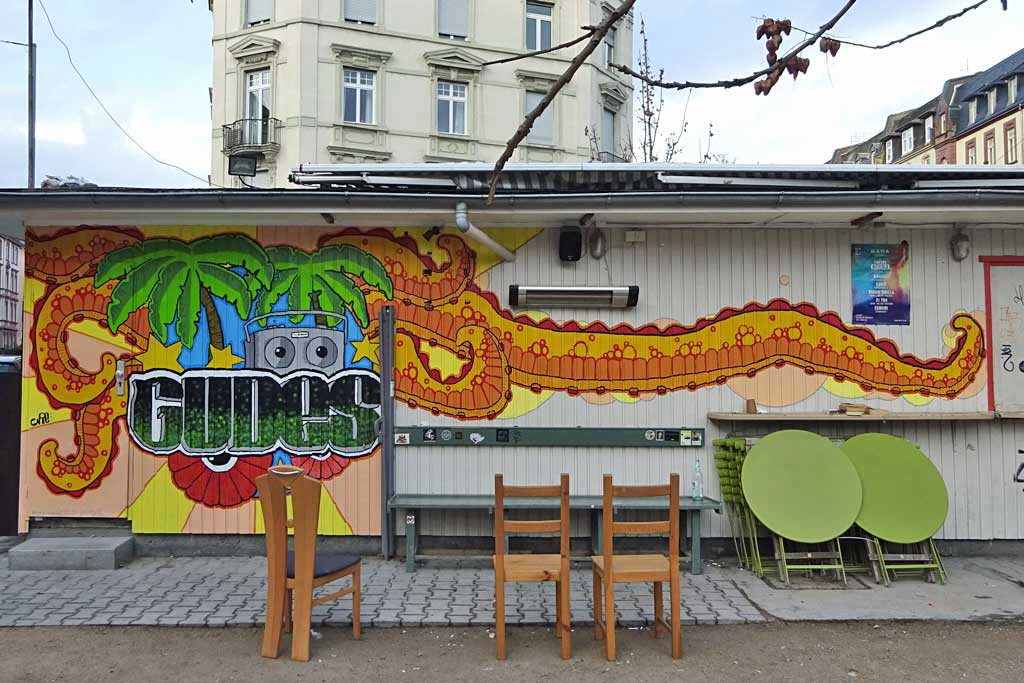 Wandbild am Wasserhäuschen Gudes in Frankfurt
