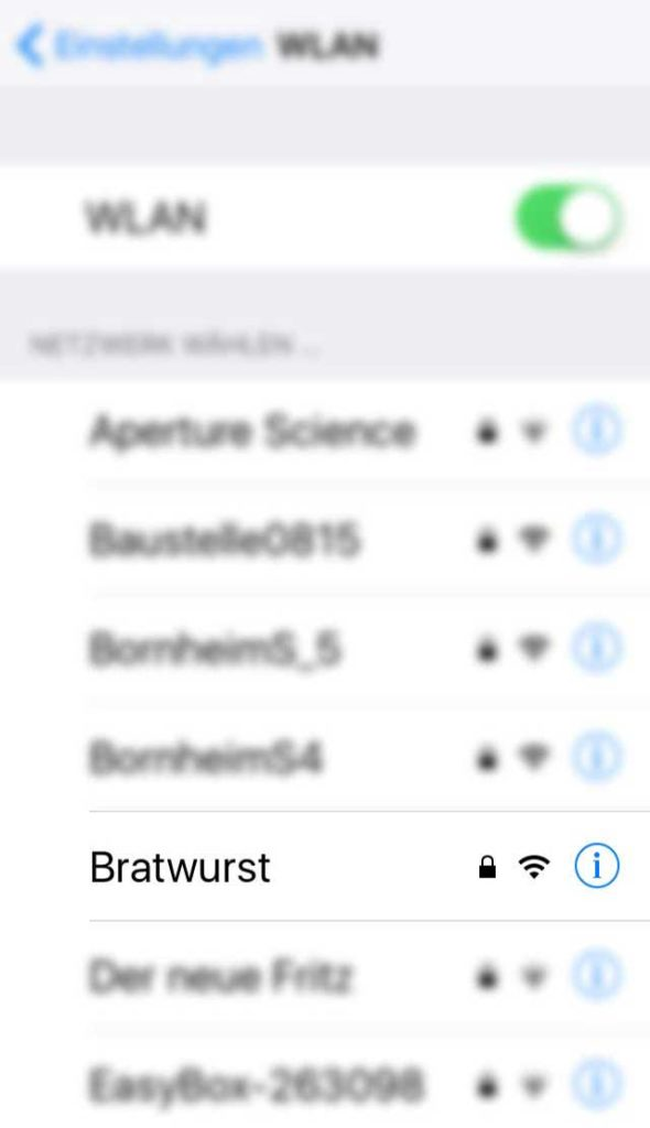 WLAN-Name in Frankfurt - Bratwurst