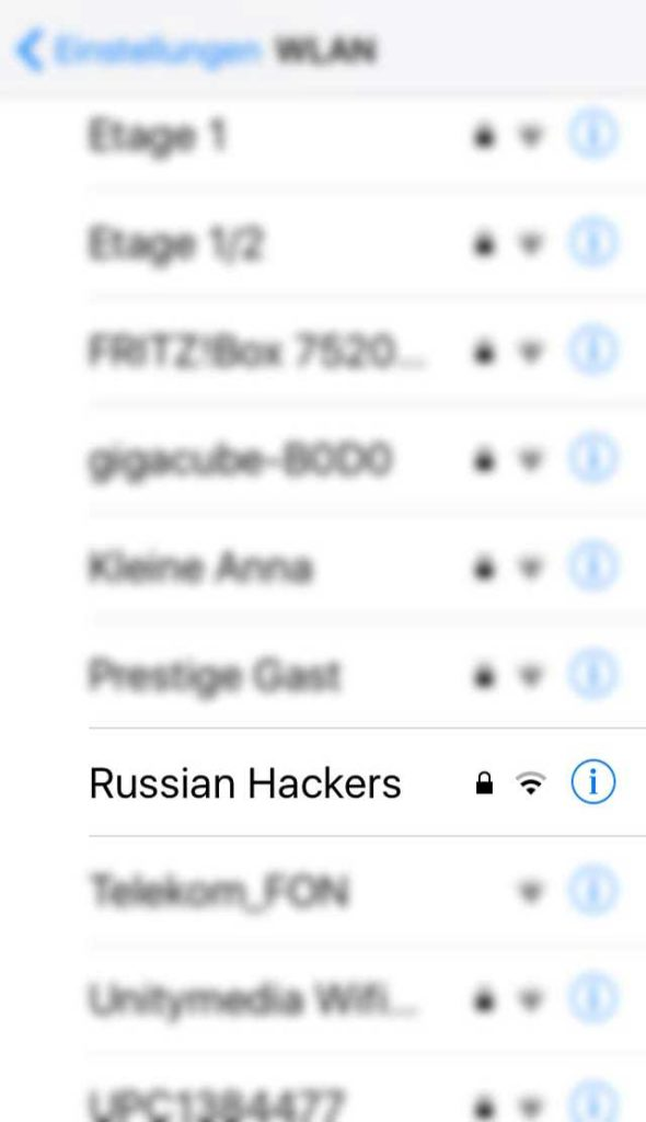 WLAN-Name in Frankfurt - Russian Hackers