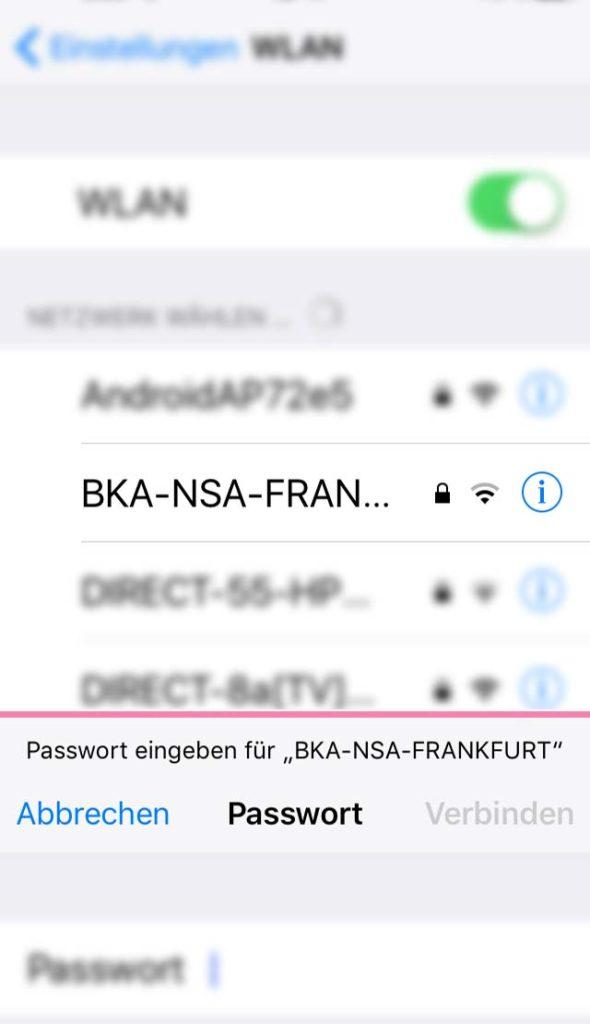 WLAN-Namen in Frankfurt - BKA NSA Frankfurt