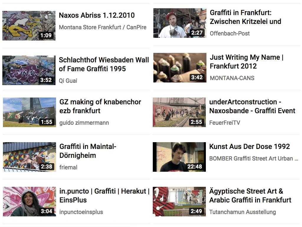 Video-Playlist auf YouTube für Urban Art in Frankfurt und Hessen